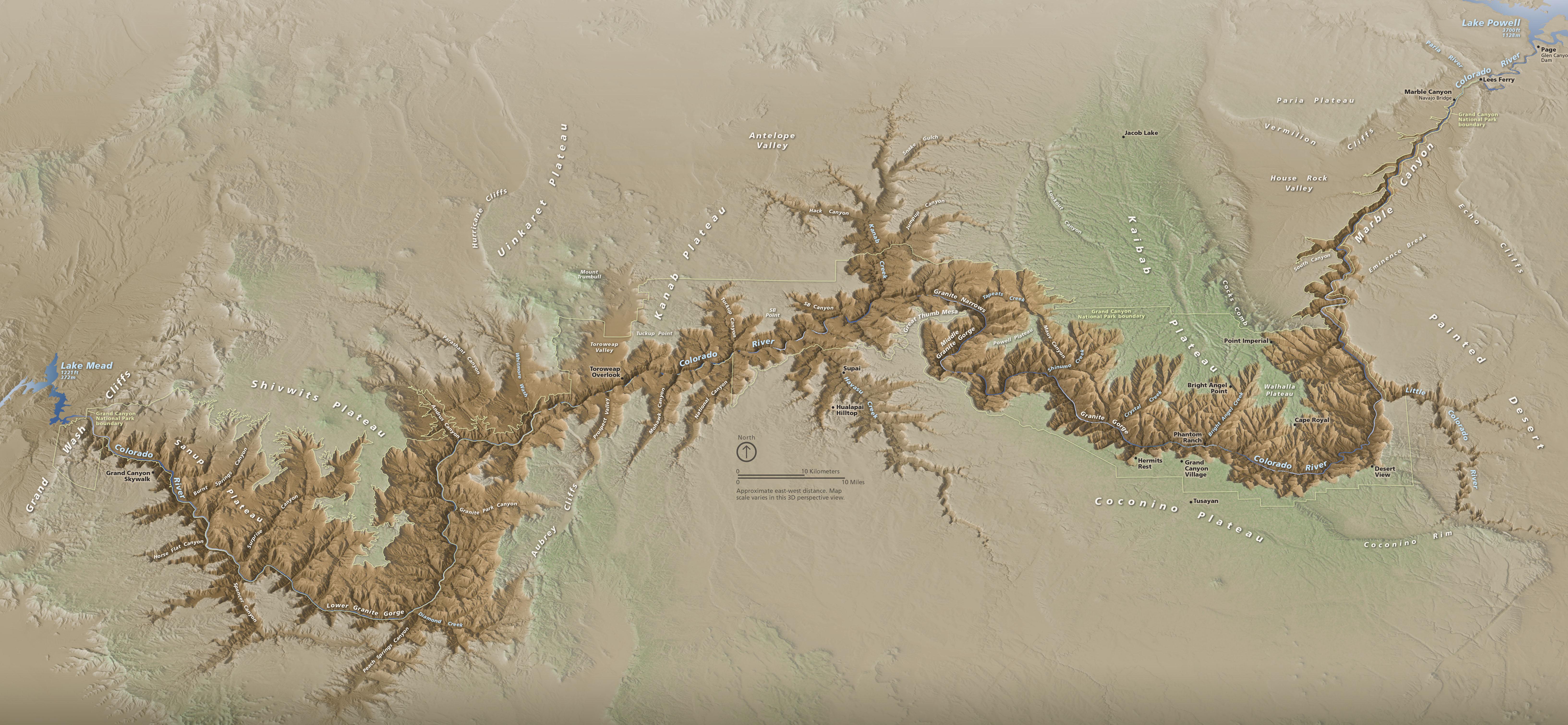 Map Of Arizona Grand Canyon.3d Terrain Maps Natural Color