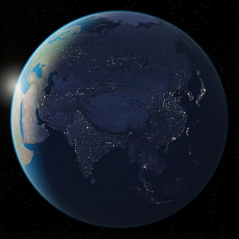 3d terrain maps earth from space asia at night created from a natural earth iii texture map gumiabroncs Image collections